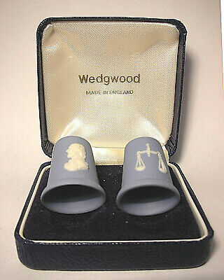 Set of 2 Wedgwood Blue Thimbles in Box - Wm. Shakespeare & Scales of Justice