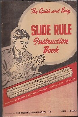 """1950's (The Quick & Easy """"slide Rule"""" Instruction Book In Good Condition !!"""