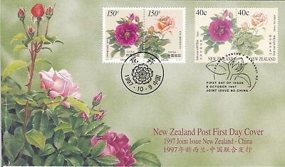 1997 - New Zealand -   Roses - Joint Issue with China - First day cover