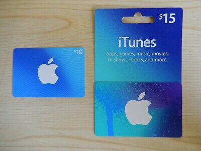 $25 total  iTunes Gift Cards ( $15 + $10 ) 2 Cards.