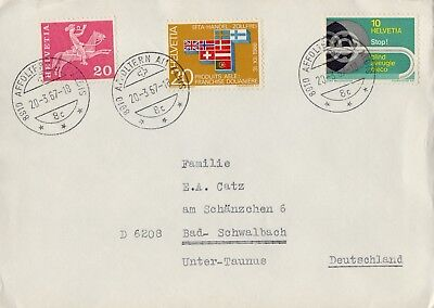 Switzerland Helvetia 1967 To Germany  Postal History Vf Cover