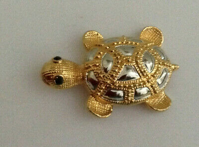 Vintage Silver Gold Tone Turtle Tortoise Brooch Pin Jewelry