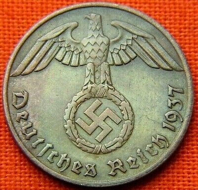 Wwii German 1937 - A 1 Reichspfennig 3Rd Reich Bronze Nazi Germany Coin Wc1825
