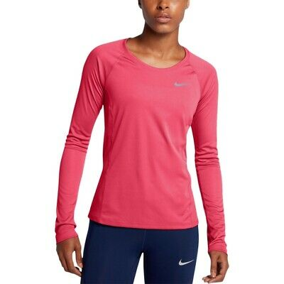c1bb32087c2f2f NIKE Women Dry Miler Long Sleeve Running Top Siren Red 831540 653 - Large  New