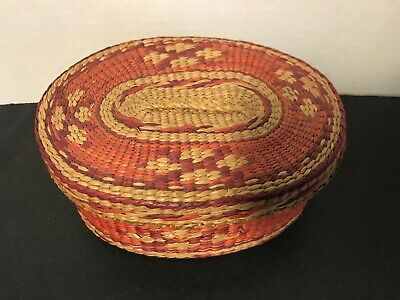 Vintage Chinese Woven Wicker Basket with Lid Oval Great Colors
