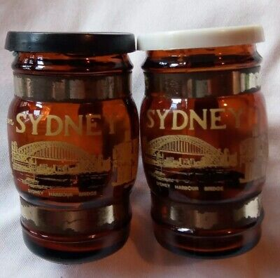 Vintage Amber Glass Salt and Pepper Shakers Souvenir Sydney