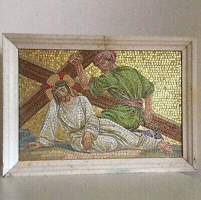Antique Jesus Christ Crucifixtion Gold Byzantine Mosaic 5th Station Of The Cross