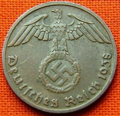 Wwii German 1938 - D 1 Reichspfennig 3Rd Reich Bronze Nazi Germany Coin Wc2061