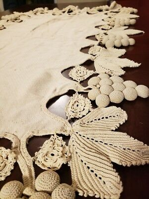 Rare Antique Irish Crochet Lace 3D Grape Table Runner or Table Cloth Victorian