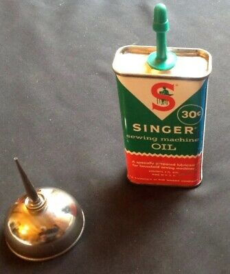 VTG Singer Sewing Machine Metal Oil Can and Thumb Pump Oiler