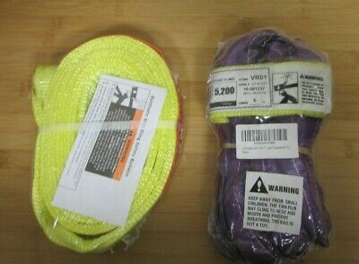 "2X Polyester Slings (1) 2""x8' Ee Twisted Tapered (1) Vr01 Round Sling 6' Purple"