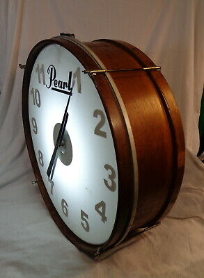 """Large 24"""" Bar Room Drum Clock Antique Bass Drum Backlit White to Black Numbers"""