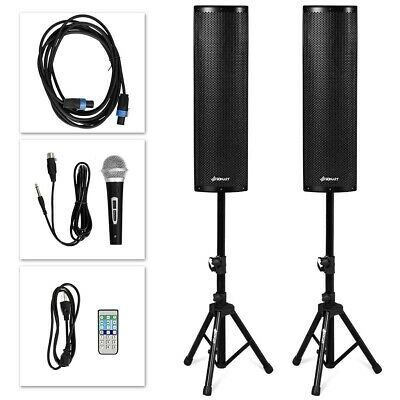2000W Set of 2 Bi-Amplified Bluetooth Speakers PA System with Mic+Stands+Cables