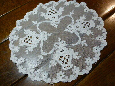 Vintage Antique Tambour Net Lace Centerpiece Doily RIBBON & BASKETS 16""