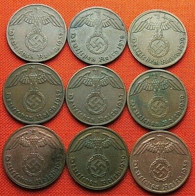 Wwii German 9X 1 Reichspfennig 3Rd Reich Bronze Nazi Germany Coin Lot Wc1927