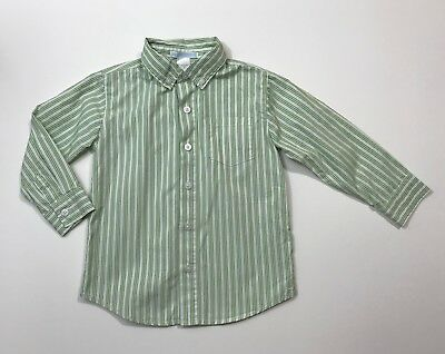 JANIE AND JACK Afternoon Garden Green Striped Button Up Shirt Size 3T
