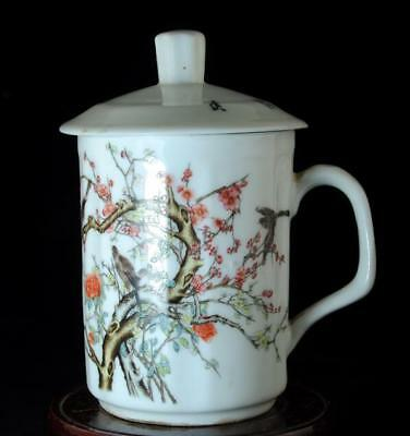 Chinese Old Hand-Made Pastel Porcelain  Flowers And Birds Cup /daqing Mark B01