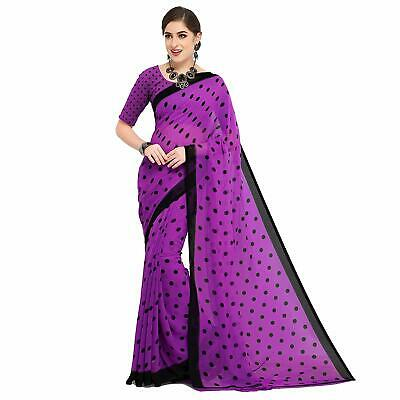 a75299e25d7d Purple Polka Saree Party Wear Indian Pakistani Ethnic Wedding Designer Sari  823