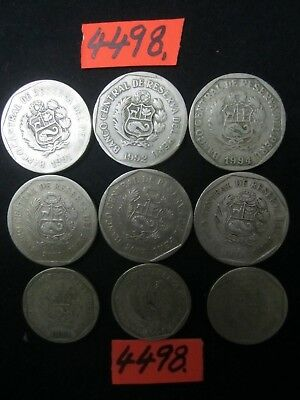 9 x  one new sol coins   Peru     36  gms      Mar4498
