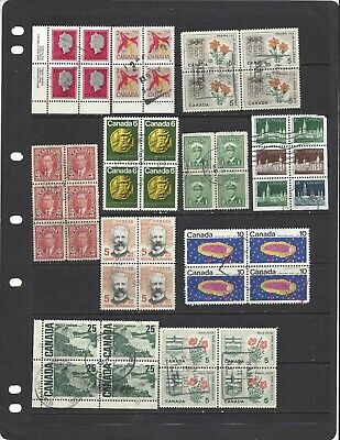 [518] 11 Canadian used blocks (48 stamps)