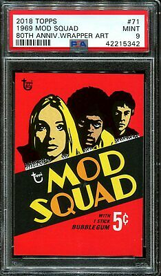 2018 Topps 80th Anniversary Wrapper Art #71 ~ 1969 Mod Squad /214 ~ PSA 9 MINT