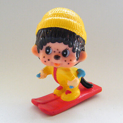Vintage MONCHHICHI SKIER Downhill Cross Country Red Skis PVC Figure