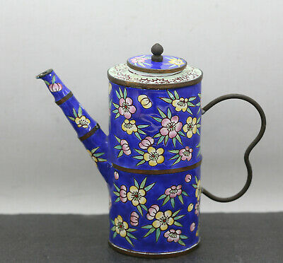 Very Rare Stunning Antique Chinese Hand Painted Brass Enamel Teapot Circa 1800s