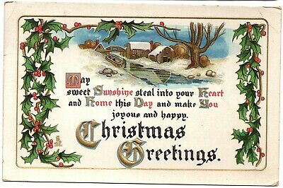 Christmas Greetings Tuck Holiday Landscapes Embossed Postcard San Francisco 1913