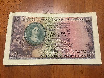 South Africa 10 pound banknotes 1957 circulated  P99 CONDITION VF- EF
