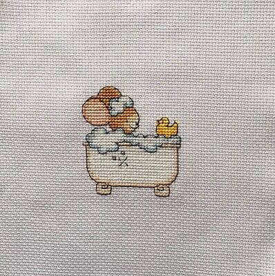 "Completed Cross Stitch Tapestry - ""Furry Tales"" Pampering Mouse"