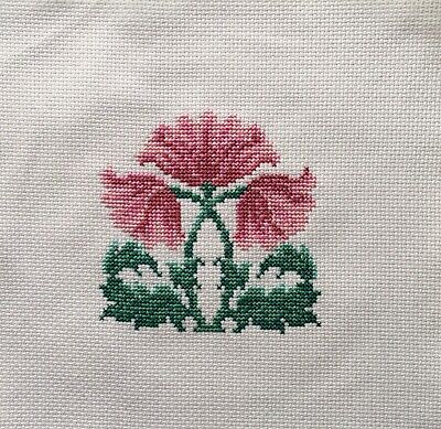 Completed Cross Stitch Tapestry - Art Nouveau Flowers Pink