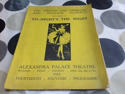 Alexandra Palace Theatre 1933 Programme. Crouch End, Muswell Hill, Wood Green