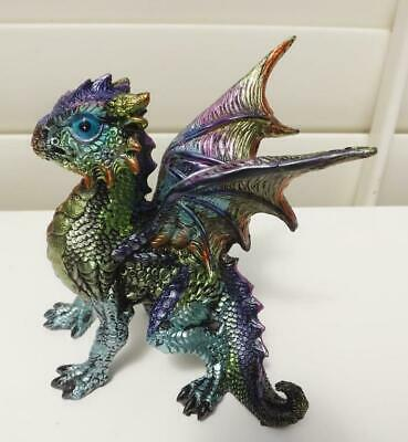 13cm  DRAGON FIGURINE STATUE MULTI COLORS METALLIC EFFECT POLY RESIN B