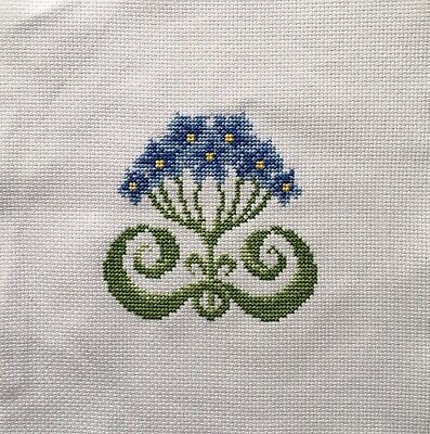 Completed Cross Stitch Tapestry - Art Nouveau Flowers Blue
