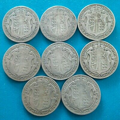 8 pre 47  halfcrowns, 50% silver (109.3 grams weight) George V.all 1920