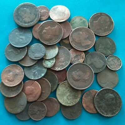 JOB LOT OF OLD BRITISH COPPER COINS , 383 grams (well worn) hence 99p start.