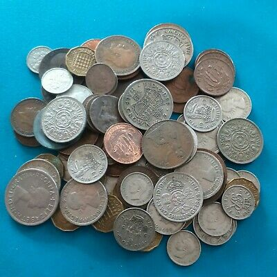 Job lot of just over 80 pre decimal british coins , halfpenny to halfcrown.