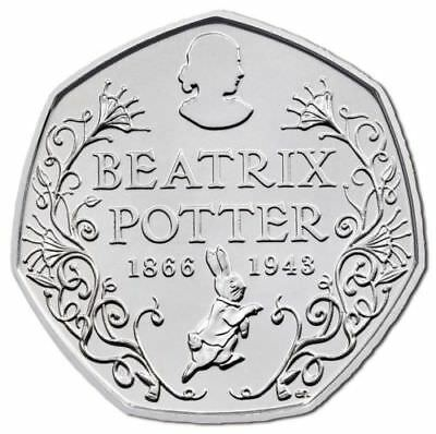 BEATRIX POTTER ANNIVERSARY 50p FIFTY PENCE COIN 2016 UNCIRCULATED CONDITION