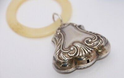 Antique Baby Rattle & Teething Ring, Silver Plate