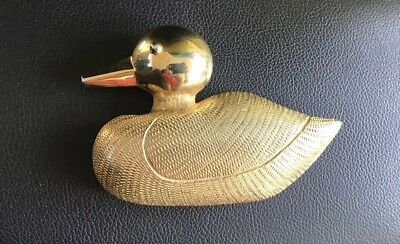 Vintage Dotty Smith Ducks belt buckle gold tone 80s signed Duck
