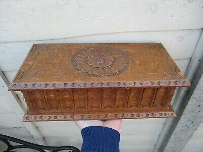 A Fine Heavy Quality Antique Carved Oak Box c1900/10