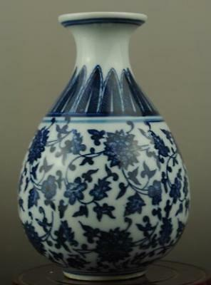Chinese old hand-made Blue and White porcelain Hand painted flower vase