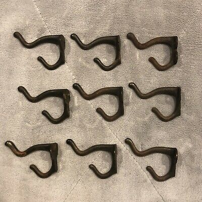 Lot of 9 Vintage Style Rustic Cast Iron Wall Coat Hat Hooks Hall Tree Hardware