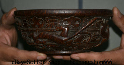 """5.8"""" Marked Old Chinese Ox Horn Dynasty Palace Carved Dragon Beast Bowl Bowls"""