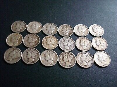 1940's Mercury Dimes Lot of 18 - 90% Silver - US Coins