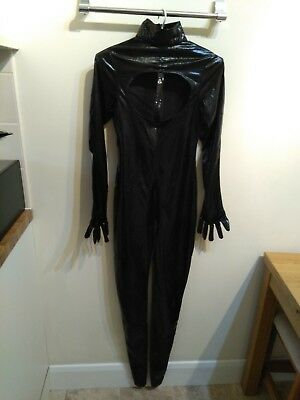 Black Lycra Wet Look Crotchless/Open Fronted Cat Suit Size S BN S&M Fetish