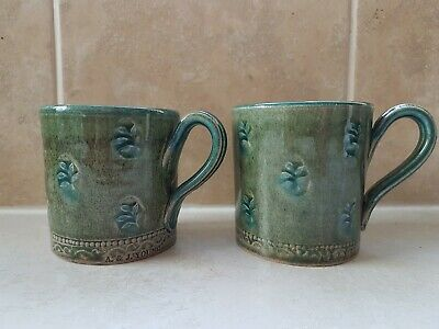 2 Lovely Studio Pottery Mugs By A&J Young, Gresham, Norfolk, England VGC