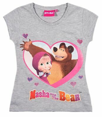Girls Kids Official Masha And The Bear Grey Short Sleeve T Shirt Top