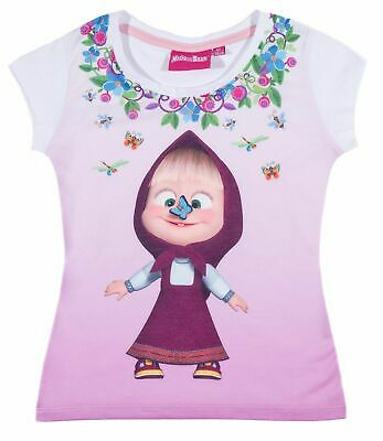 Girls Kids Official Masha And The Bear Butterfly Short Sleeve T Shirt Top