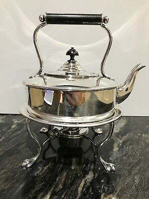 Quality antique Hukin & Heath silver plated spirit kettle on stand With Burner